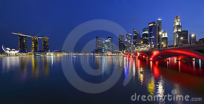 Panorama of Singapore skyline and river