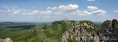 Panorama of South Ural mountains