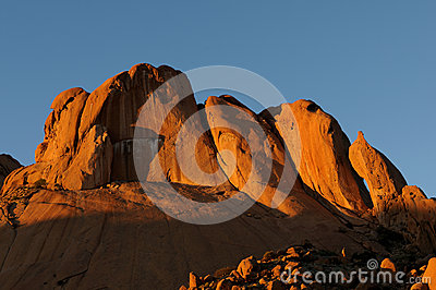 A panorama of Spitzkoppe in Namibia