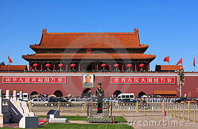 Panorama of Tiananmen Gate Editorial Stock Image