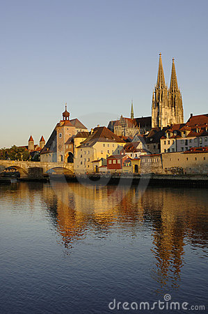A panorama to german town regensburg