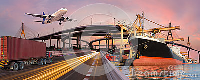 Panorama transport and logistic concept by truck boat plane Stock Photo