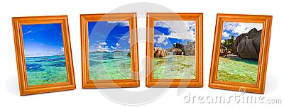 Panorama of tropical beach in frames