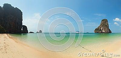 Panorama of tropical beach with rocks. Thailand, Krabi, Railay