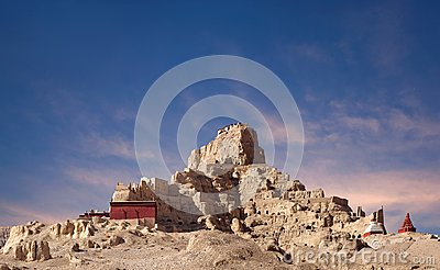 Panorama of Tsaparang in Guge Kingdom, Tibet Stock Photo