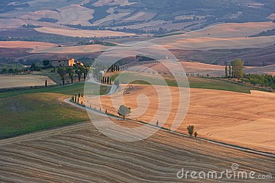 Panorama of Tuscany at sunset, Pienza