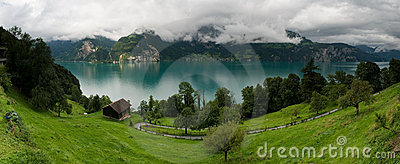 Panorama of Urnersee lake in Switzerland