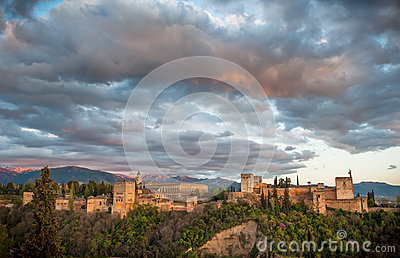 Panorama view of Alhambra palace, Granada, Spain