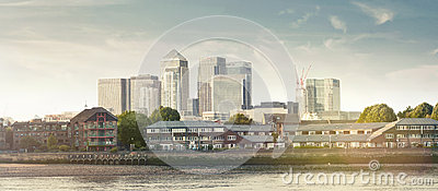 Panorama view of Canary Wharf district Editorial Stock Photo