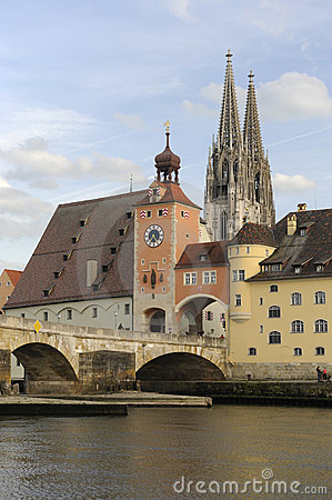 A panorama view of the  german town Regensburg