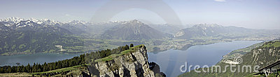 Panorama View of Lake Thun and Bernese Alps