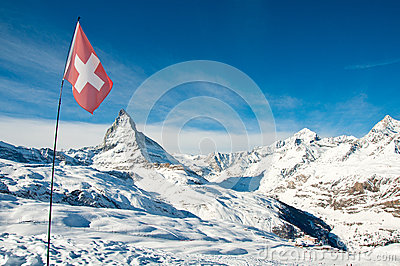 Panorama view of Matterhorn and swiss flag