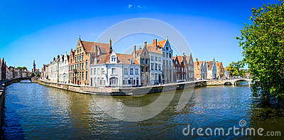 Panorama view of river canal and colorful houses in Bruges