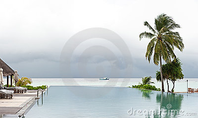 Panorama view of swimming pool in beach resort