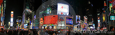 The panorama view of Times Square Editorial Photography