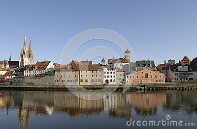 A panorama view to german town regensburg