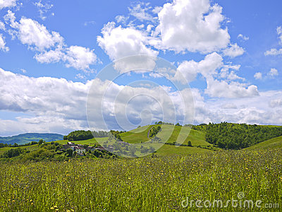 Panorama view of Val Trebbia, Piacenza, Italy