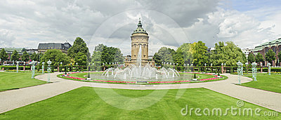 Panorama views of city landmark in Mannheim.