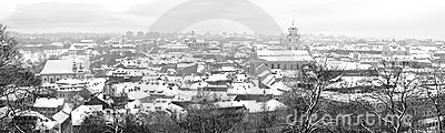 Panorama Vilnius old city in december morning