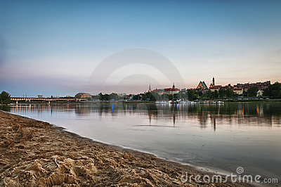 Panorama of Warsaw city with Vistula river