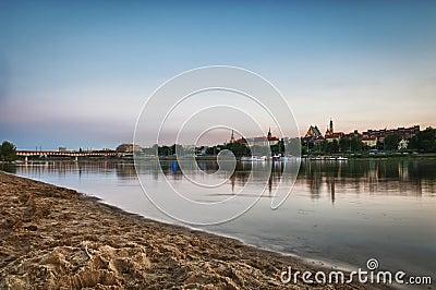 Panorama of Warsaw city with Vistula river