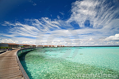 Panorama of water villas in a ocean