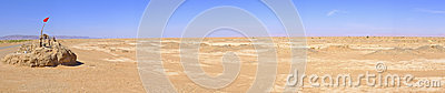 Panorama with water well in Sahara Desert, Morocco