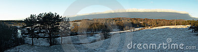 Panorama of a winter landscape