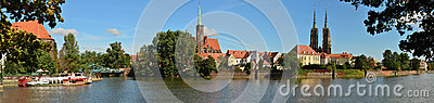 Panorama of Wroclaw  Ostrow Tumski-160 cm long Editorial Stock Image