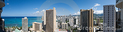 Panoramic 180-degree view of Waikiki beach, Hawaii