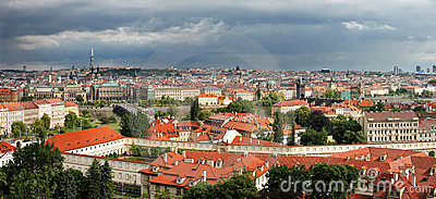 Panoramic aerial skyline view of Prague.