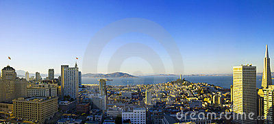 Panoramic aerial sunrise view  San Francisco