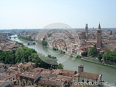 Panoramic aerial in Verona, Italy