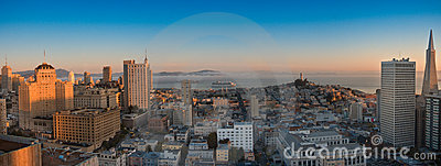 Panoramic aerial view  San Francisco and bay area