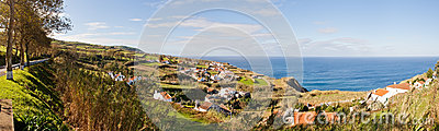 Panoramic aerial view to town over ocean