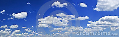Panoramic blue sky with white clouds