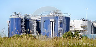 Panoramic of chemical storage tanks