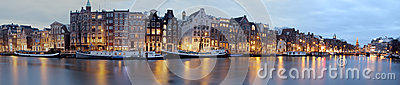 Panoramic city scenic in Amsterdam the Netherlands