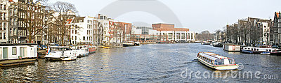 Panoramic city view in Amsterdam Netherlands