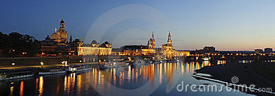 Panoramic cityscape in night , Dresden, Germany.