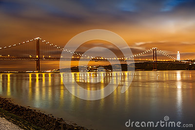 Panoramic of 25 de Abril bridge