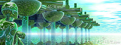 Panoramic Green City and Alien or Future Human