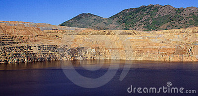 Panoramic Image of an Open Pit Copper Mine