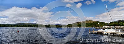Panoramic of Lake Windermere with speedboat and pier Editorial Stock Image