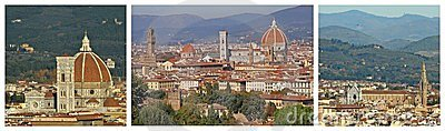 Panoramic landscape of Florence collage
