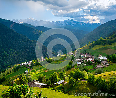 Panoramic landscape of Ieli village in Svaneti