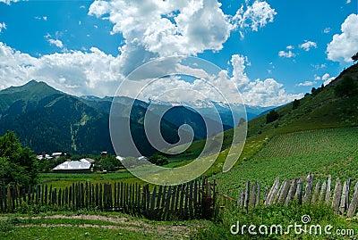 Panoramic landscape of Ieli village in Svaneti