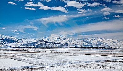 Panoramic landscape of snowy mountains