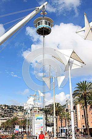 Panoramic lift the Bigo, Genoa, Italy Editorial Stock Photo