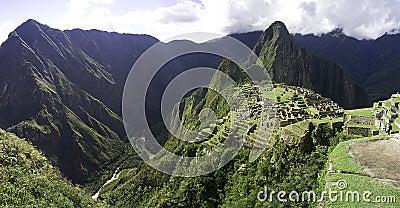 Panoramic Macchu Picchu inca ruins, Peru